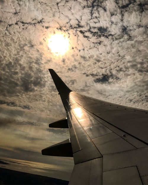 Airplane Sky Sunset Sun Cloud - Sky Transportation Travel Flying Air Vehicle Nature Day Dramatic Sky