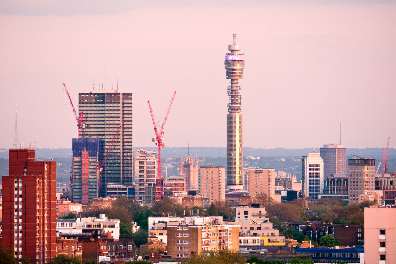 London from Hampstead Heath Architecture BT Tower London City Cityscape Crane - Construction Machinery London London Skyline Modern Office Building Skyscraper United Kingdom