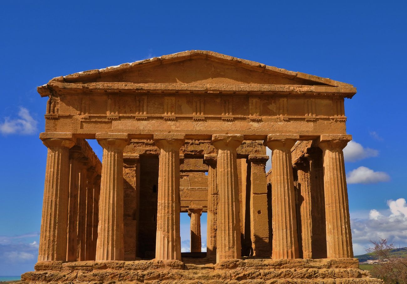 Agrigento Agrigento Sicily Ancient Archaeology Architectural Column Architecture Blue Blue Sky Built Structure Clear Sky Colomns Culture Famous Place History National Landmark Old Ruin Outdoors Ruin Sky Tempio Della Concordia Temple Architecture Tourism Valle Dei Templi