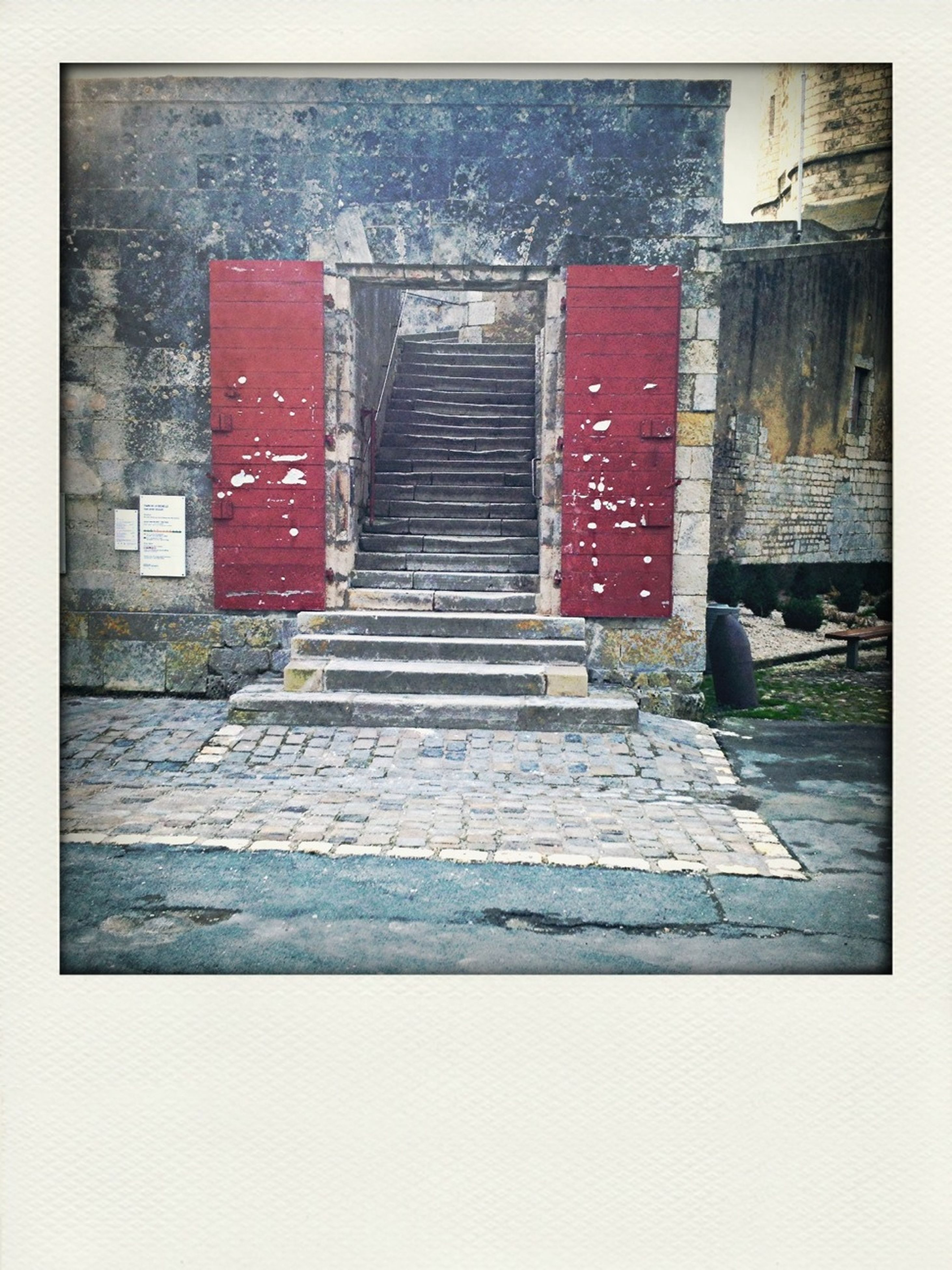 transfer print, architecture, built structure, building exterior, auto post production filter, house, door, red, day, outdoors, wood - material, wall - building feature, text, old, residential structure, entrance, building, no people, steps, city