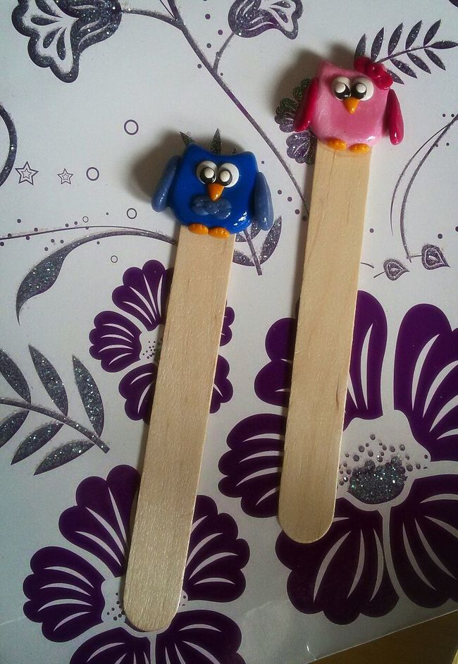 Handmade Polymerclay Fimolovers Fimo Owls Love ♥ Bookmarks