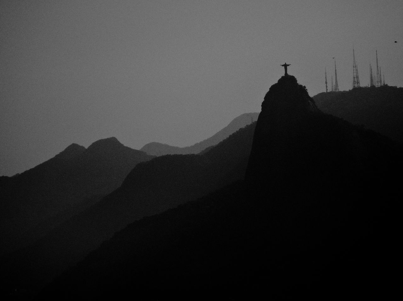 Architecture Beauty In Nature Blackandwhite Christ Day Jesus Mountain Mountain Range Mystic Nature No People Outdoors Rio De Janeiro Silhouette Sky