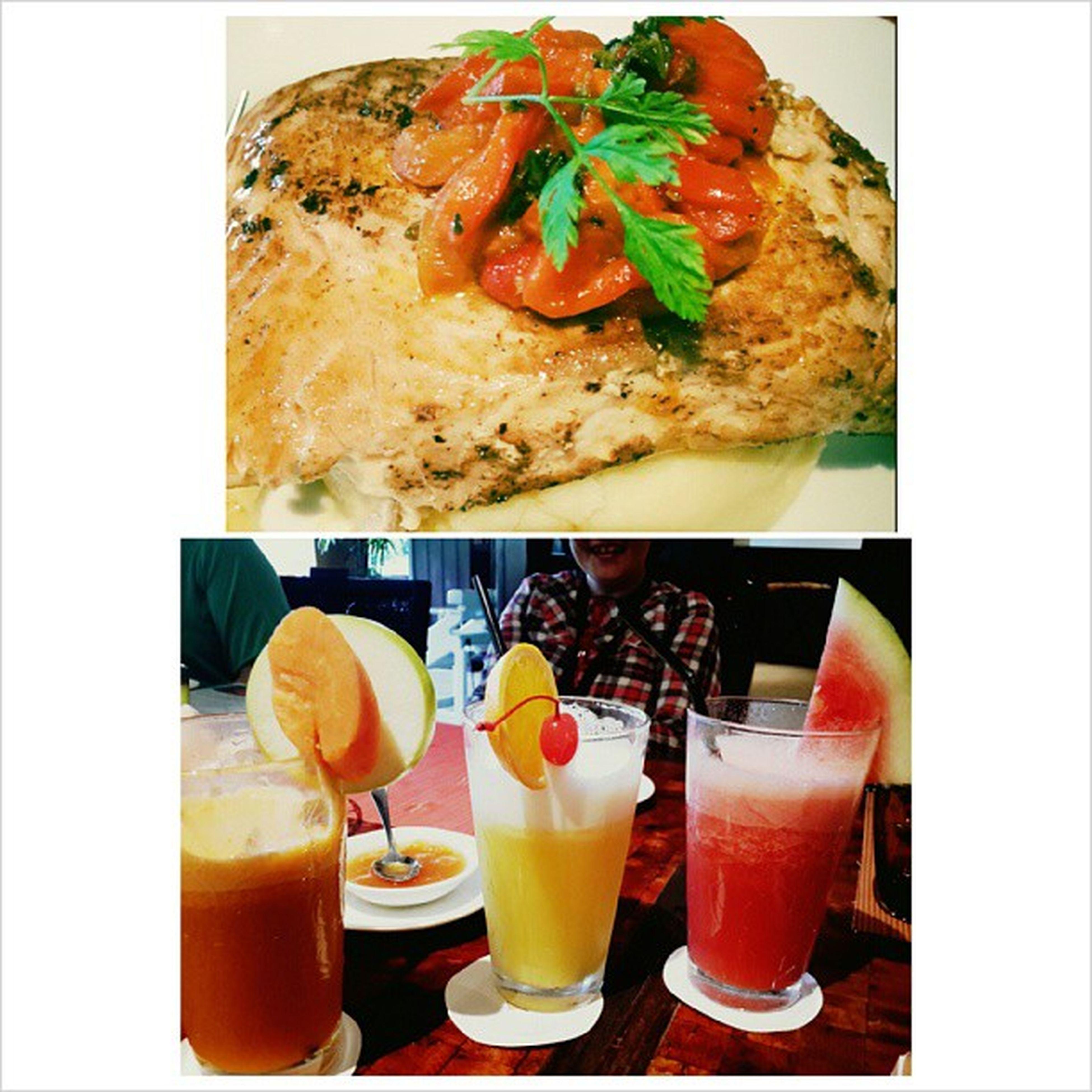 My lunch today :) One happy tummy. Salmoninmashedpotato Freshfruitjuices