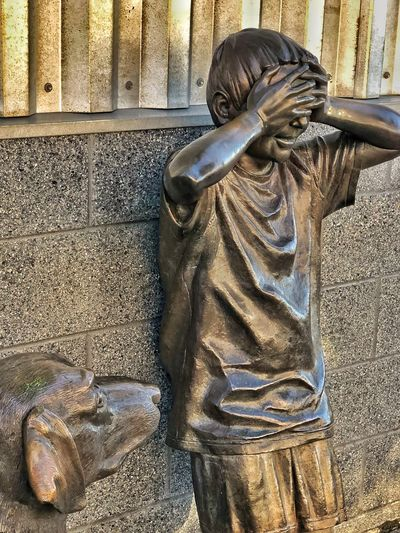 Hide and go seek—beautiful sculptures at the Imagine Childrens's Museum Statue Sculpture Human Representation Art And Craft Male Likeness Outdoors No People Day Built Structure Architecture City