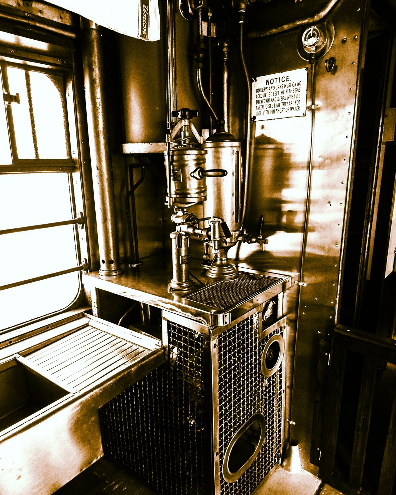 Monochrome Kitchen Galley Boiler Train Steamtrain Metal Reflection Pressure Gauge Sink Food Cooking PhonePhotography Me, My Camera And I Mobilephotography Food Preparation Shadow Steam Engine