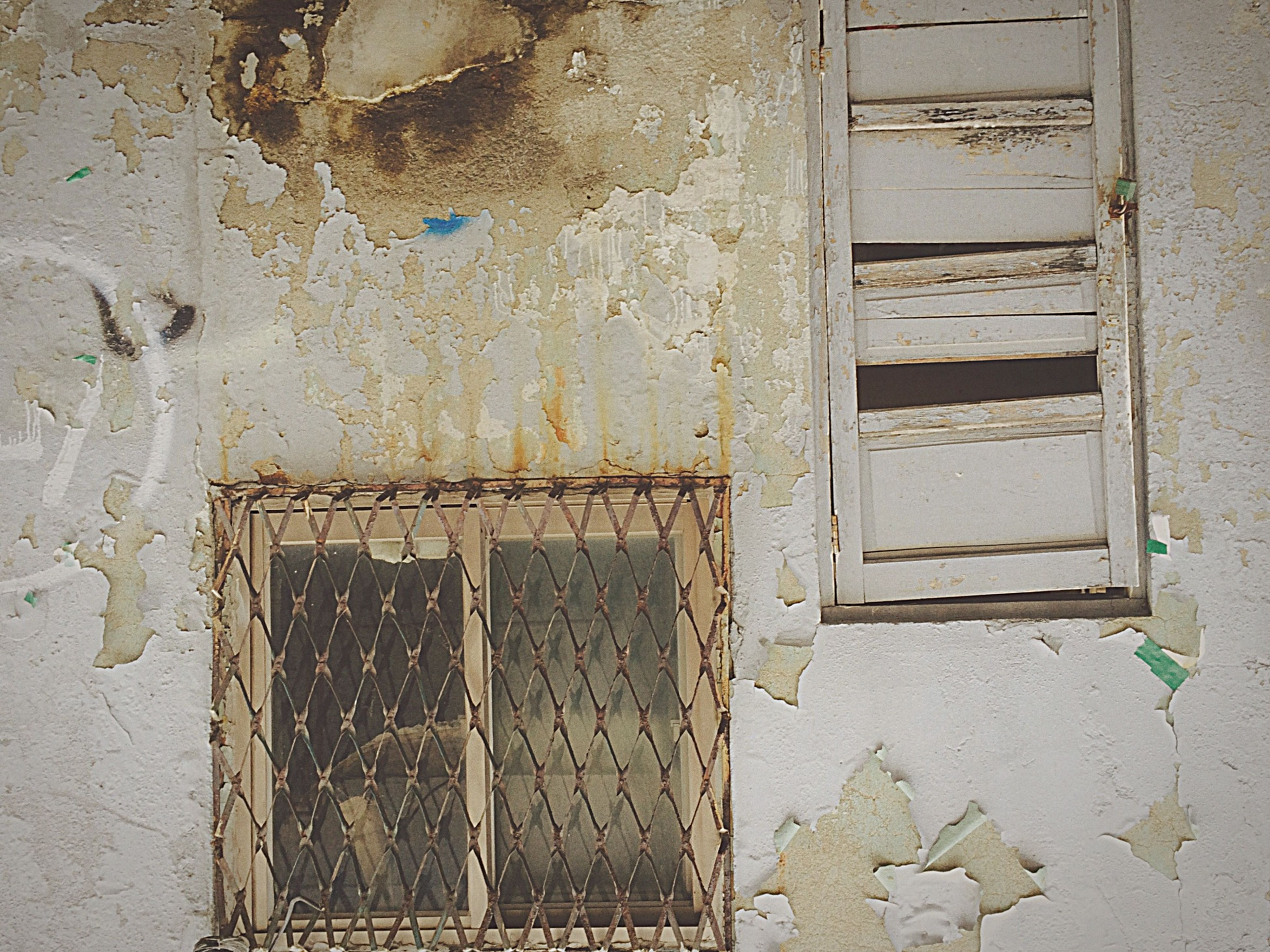architecture, built structure, building exterior, weathered, old, abandoned, damaged, door, closed, wall - building feature, run-down, deterioration, house, obsolete, window, bad condition, wall, brick wall, wood - material, peeling off