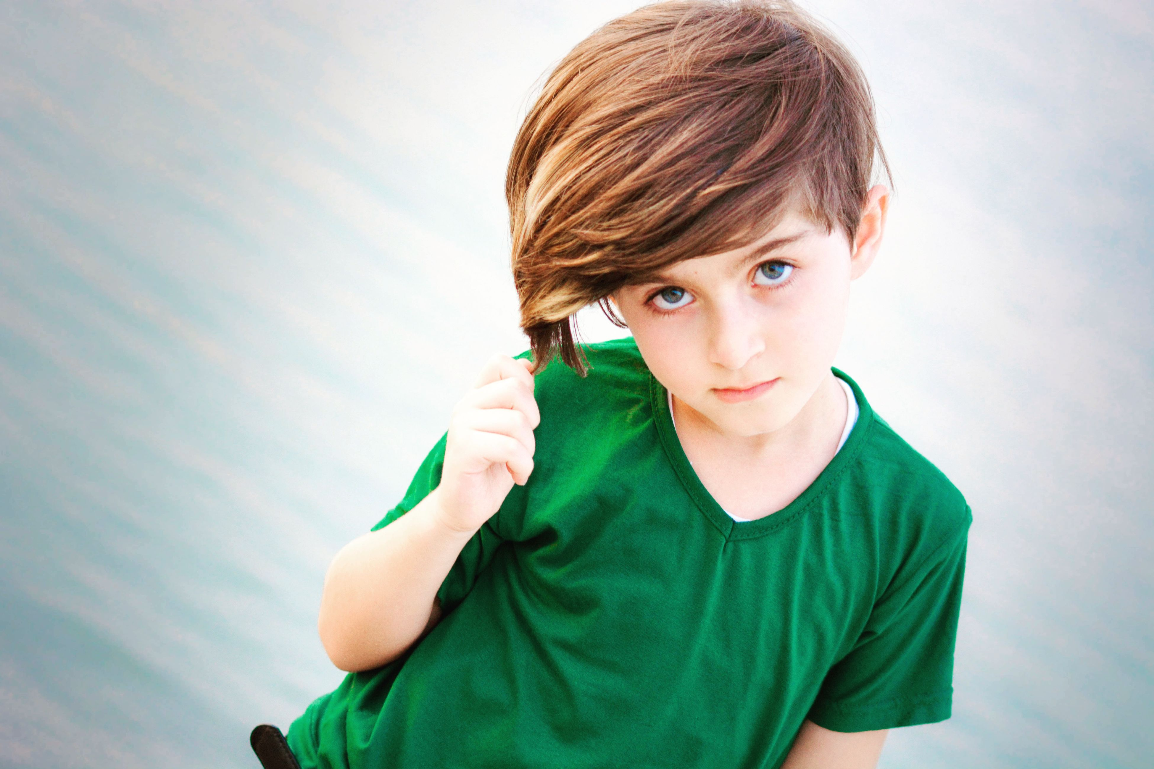 child, childhood, sky, portrait, looking at camera, one person, boys, males, children only, green color, one boy only, people, outdoors, close-up, day, freckle, human body part