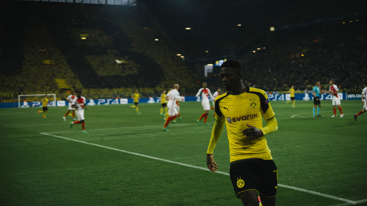Impression of Dortmund - Field View Borussia Dortmund Championsleague Dark Dortmund Fans Field Green Light Monaco Nike Player Portrait Professionalphotography Soccer Soccer Field Soccer Player Sport Sports Sports Photography Stadium Stadium Atmosphere The Week On EyeEm The Weekend On EyeEm UEFA Yellow