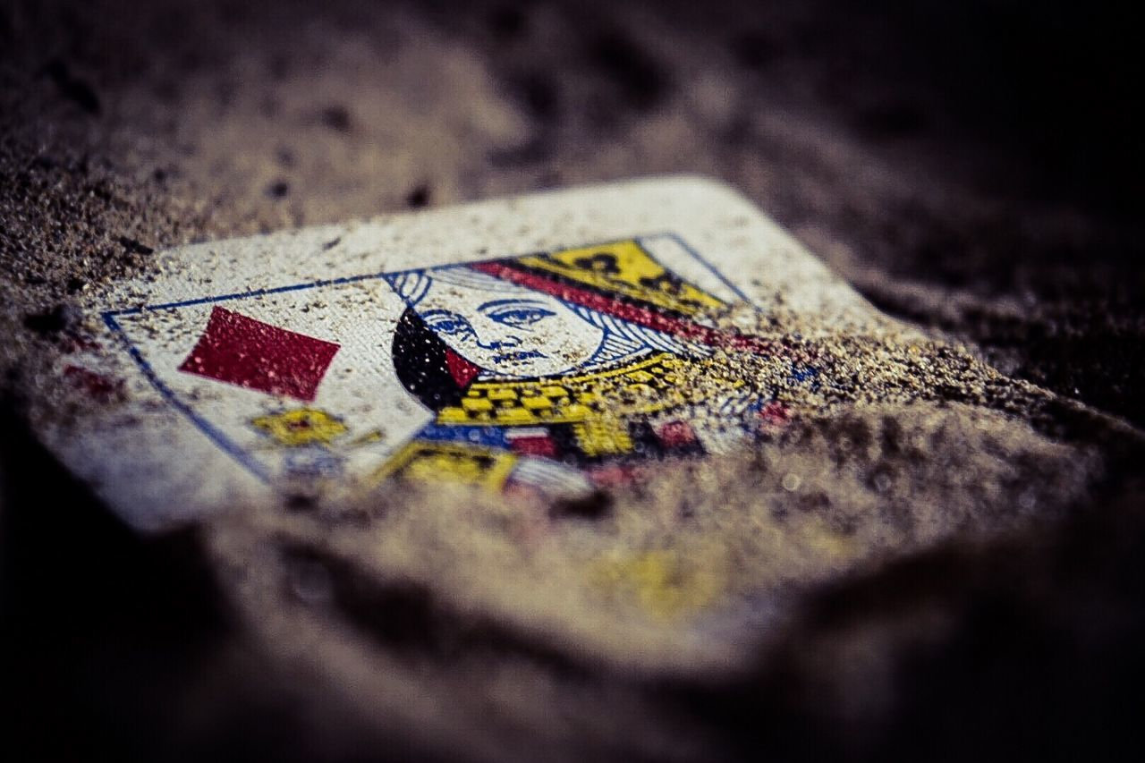The Magic Mission Selective Focus Art And Craft Art Close-up Multi Colored Single Object Textured  Creativity Surface Level Wooden Ideas No People Damaged Man Made Object Intricacy Full Frame Hobbies Cards Queen Of Diamonds Card Tricks
