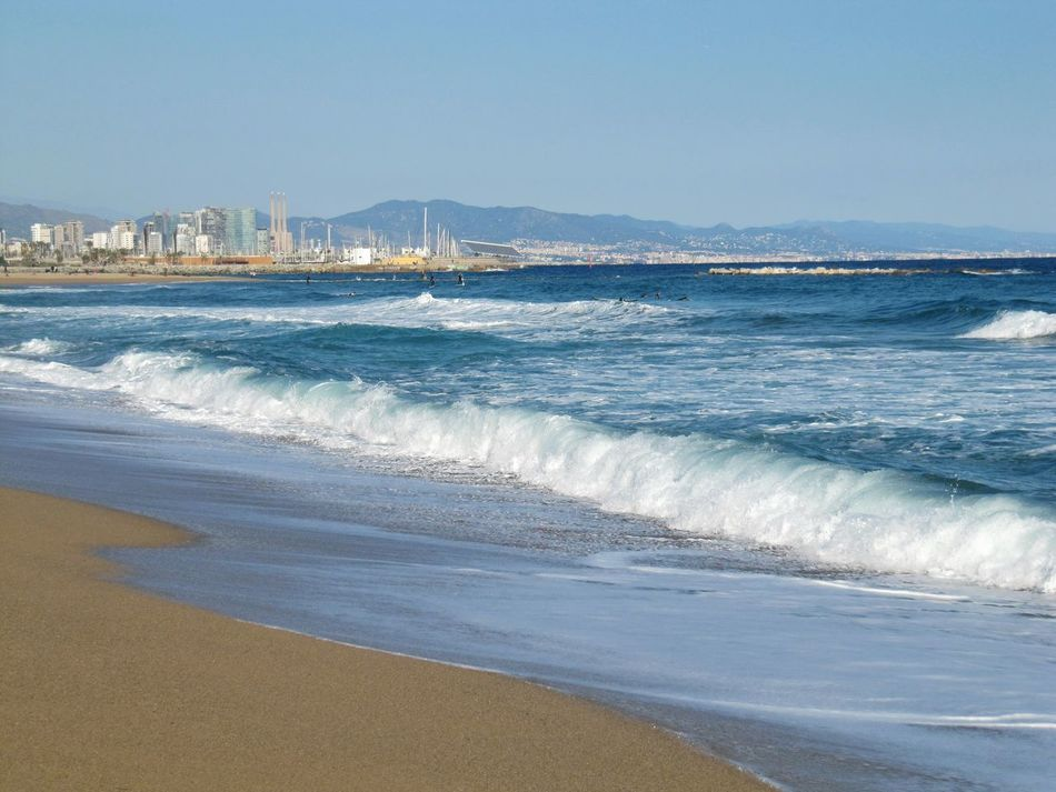 Barcelona Clear Sky Sunny Blue Blau Himmel Travel Destinations Travelphotography Beauty In Nature Beach Sea Sand Wave Water Vacations Scenics Water's Edge Architecture Canon Powershot SX200 IS Canon Powershot