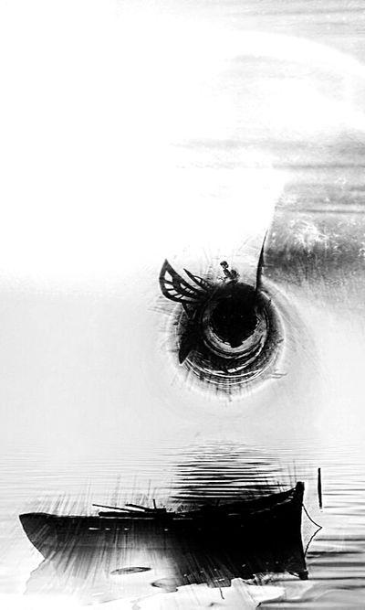 Variation Black & White Silhouette Ile De Sable Ciel Et Nuages Jump!