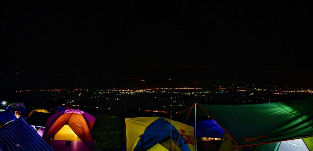 Tent Night Camping Outdoors Vacations Light And Dark