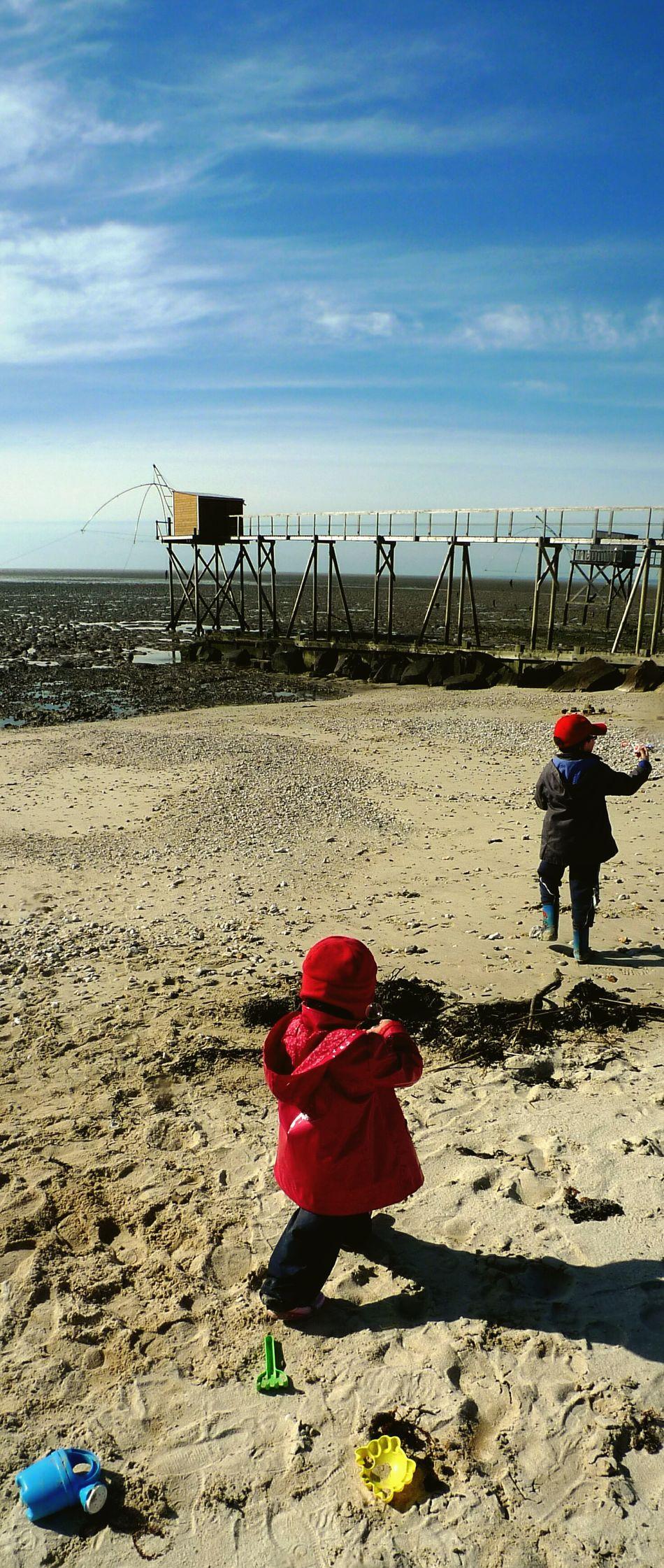 Beach Enjoying Life Brother & Sister Sea Fishermens Hut Carrelets