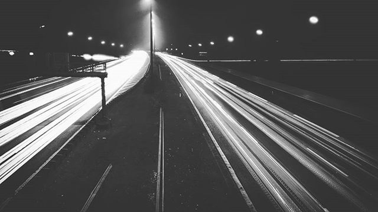 Autobahn Hamburg Greatestcity Blackandwhite Huawei Hauweip8 Trafficlights Foggy Evening Photo Photography Art Autumn Beautiful Carlighttrails Need For Speed