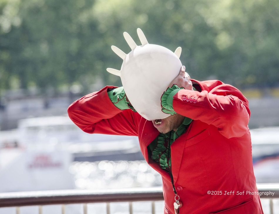 Entertainer Five Fingers Funny Hat Headwear Latex Gloves Outdoors Red Jacket Southbank London Street Entertsiner Street Photography Teats