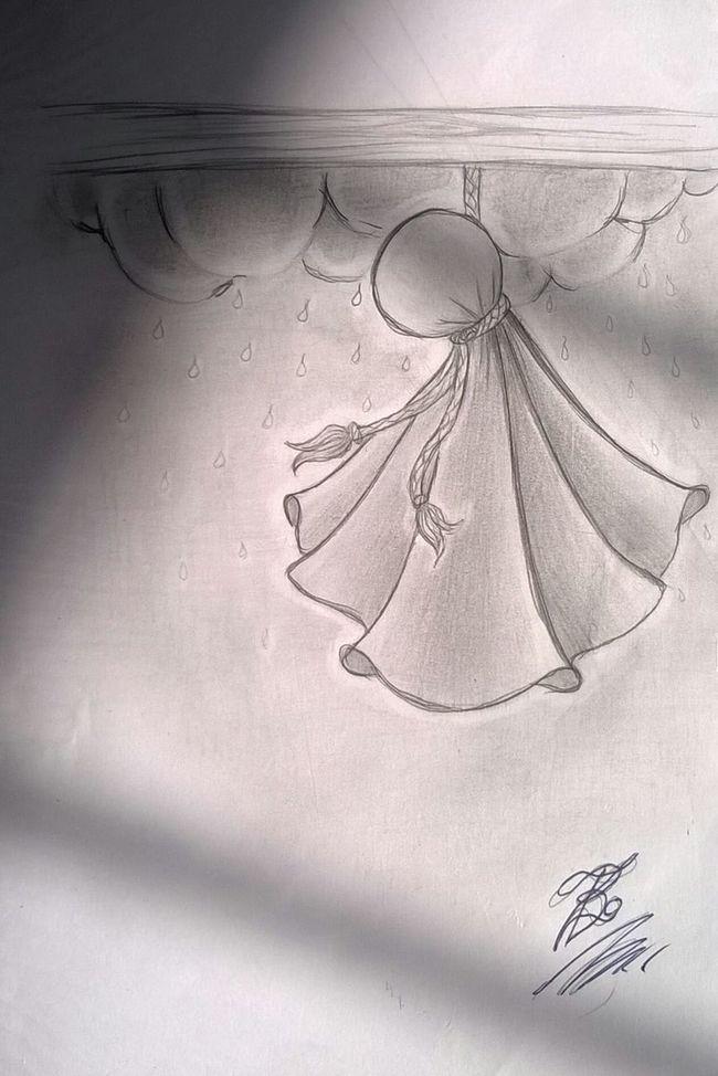 Drawing Black And White Weather Doll Pencil And Paper Teru Teru Bozu 🌞