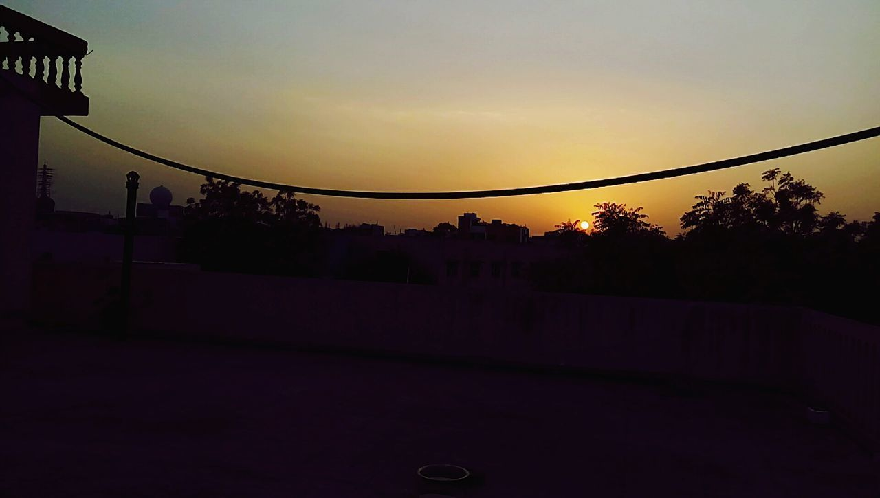 Sunset Sky No People Tree Rooftop Scenery Clear Sky Summer Day