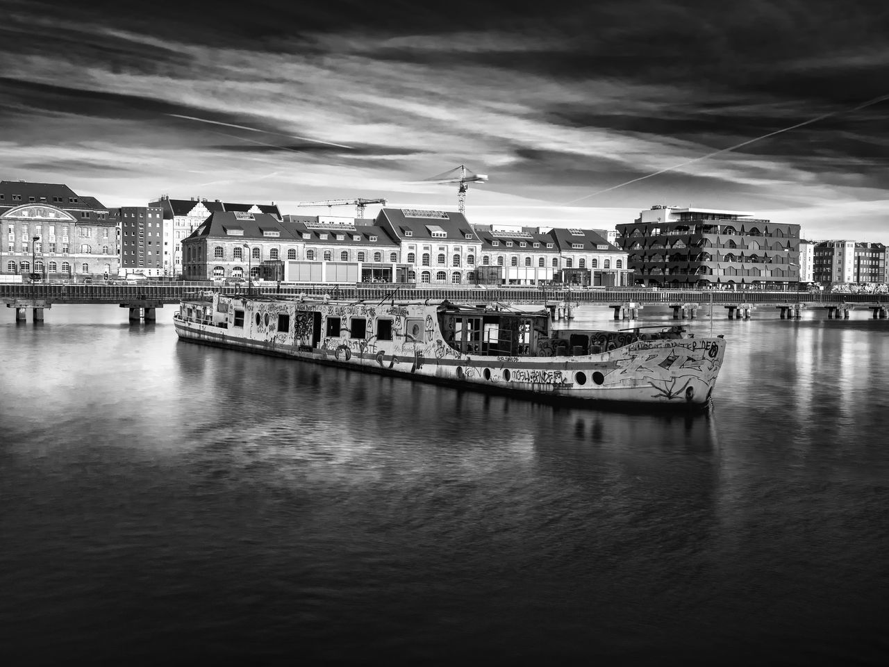 Architecture Berlin Black And White Boat Building Exterior City Cityscape Cityscape Day Dramatic Sky Germany Long Exposure Monochrome No People Old Boat One Animal Outdoors Sky Water