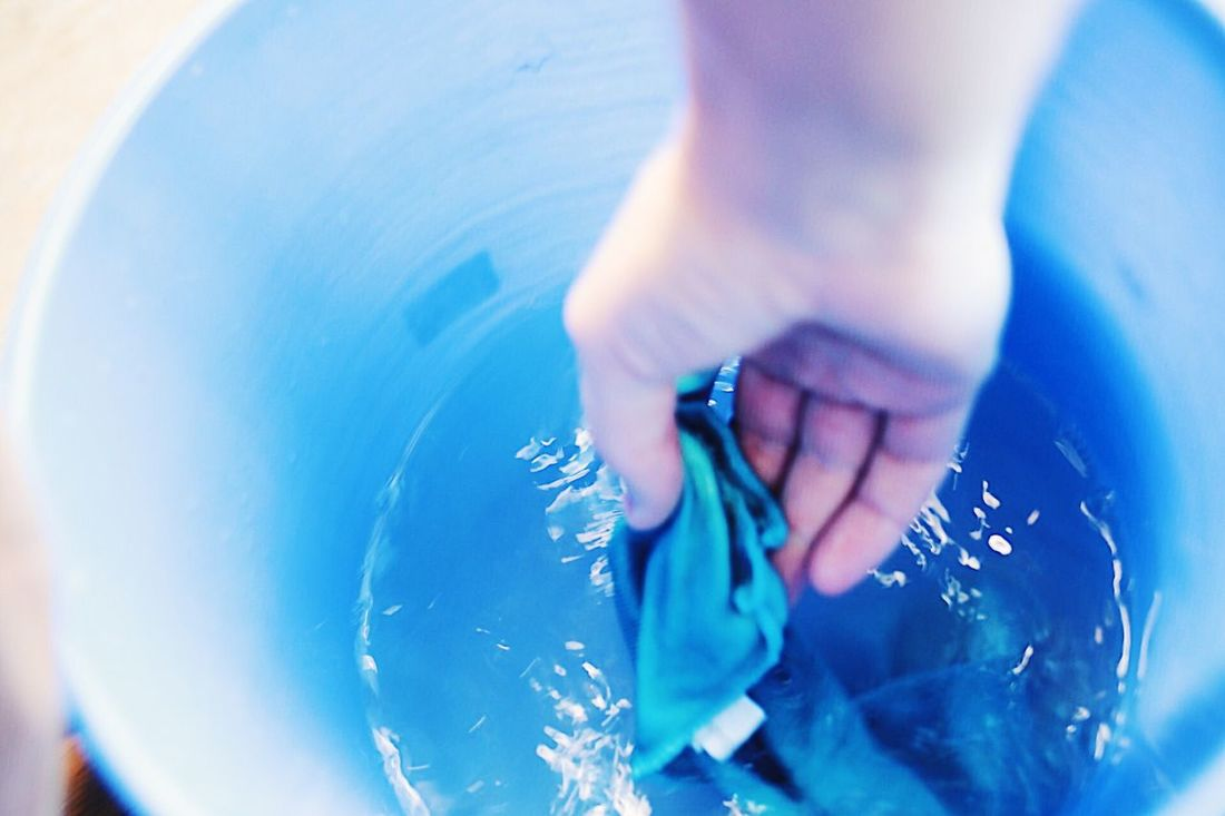Blue Real People One Person Human Body Part Human Hand Close-up Women Day Washing Water Wet Cleaning Bucket Bright Colors Cloth Fingers Indoors  Holding Real Life Wash Springcleaning Backgrounds