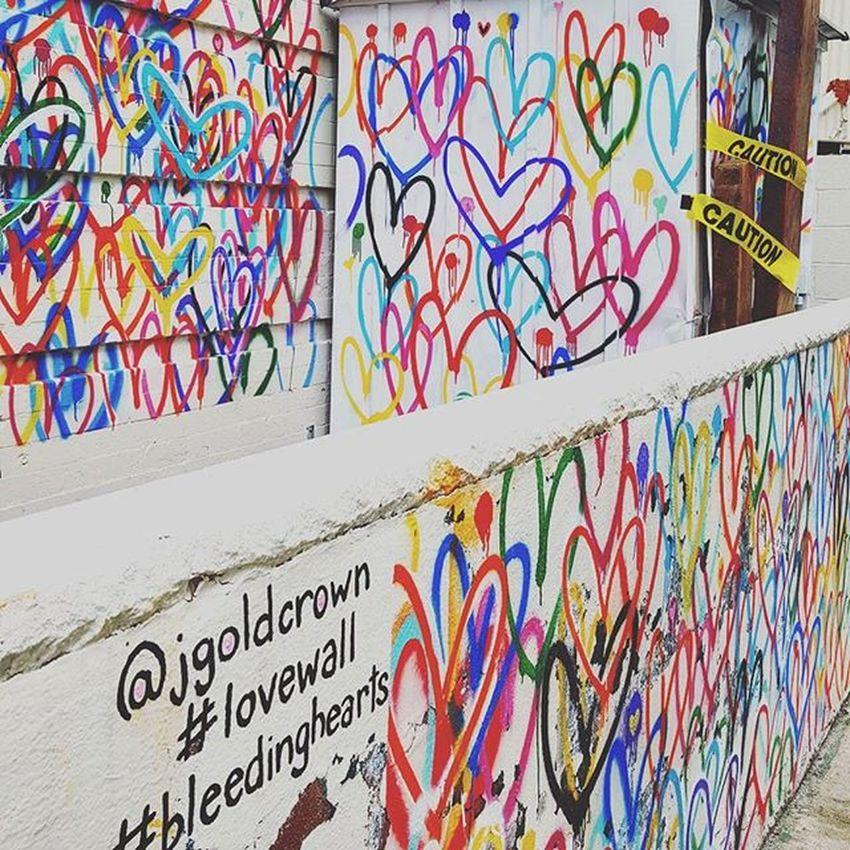 My fave Wallart ♡♡♡ Bleedinghearts Lovewall Chinatown Soho NYC Cautiontape
