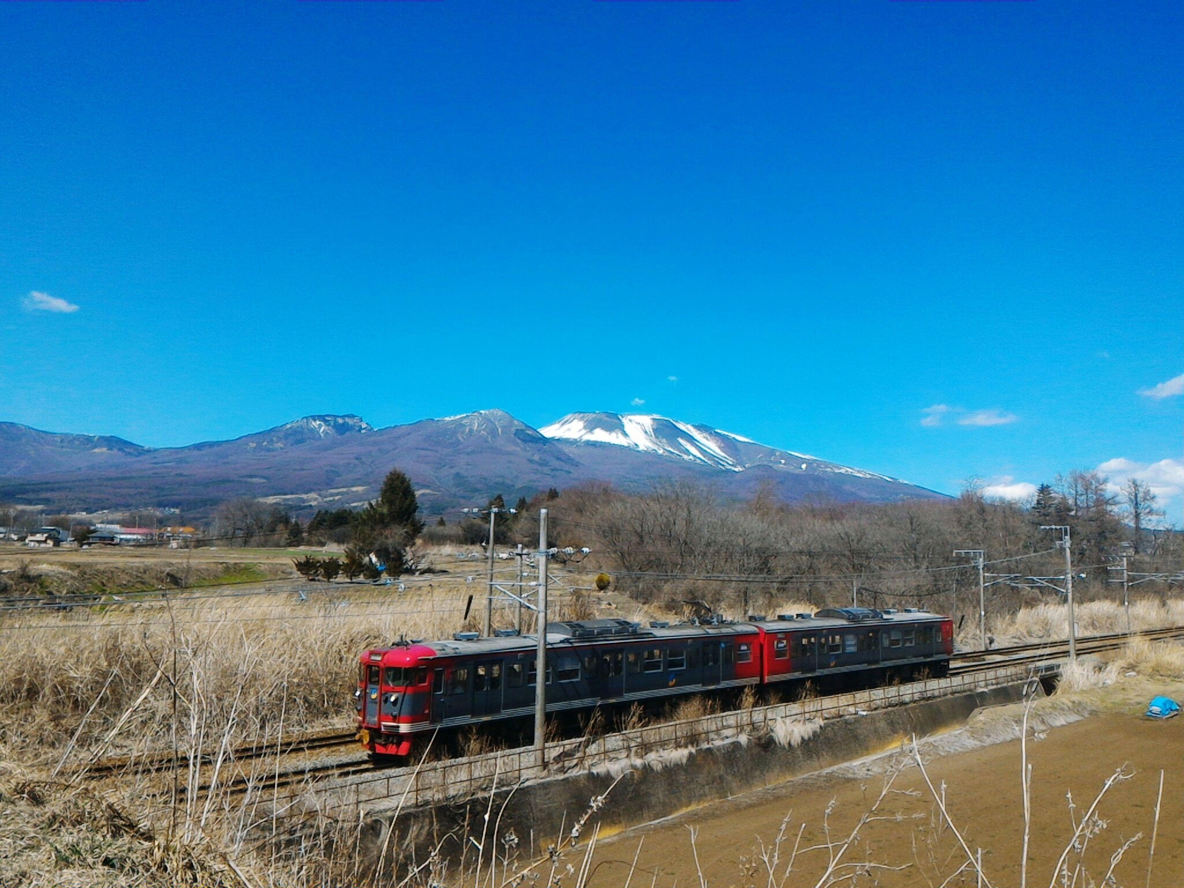 Shinano Railway Shinano Railroad Electric Train Mount Asama Mt Asama Volcano in Nagano , Japan