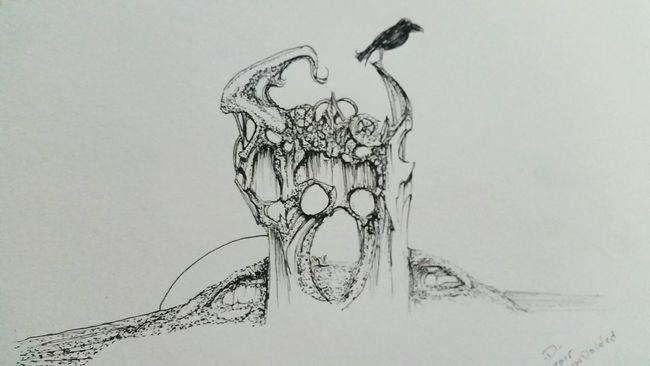 3SkullCrown Pen Drawing Artist ArtWork BLINDsided STUDio Selftaughtartist Art, Drawing, Creativity Art Gallery Halloween_Collection
