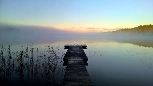 Calm Finland Idyllic Lake Mist Morning Nature No People Pier Serenity Tranquility