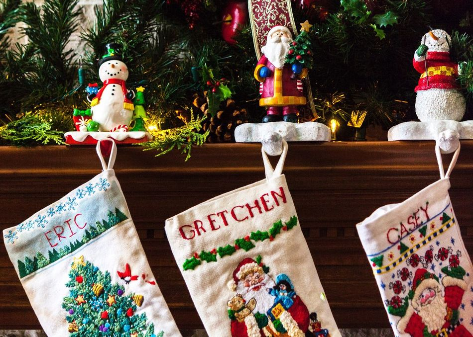Home For The Holidays Stockings Hearth Christmastime Festive Christmas Decorations Pine Garland Winter Warmth Warmth Jolly Santa Anticipation Of Christmas Anticipation