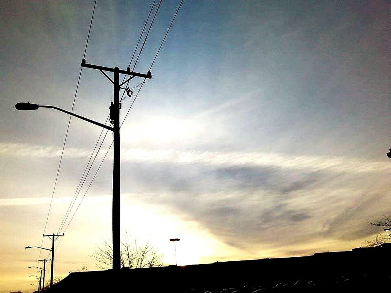 cable, connection, silhouette, electricity, technology, sky, fuel and power generation, power line, electricity pylon, power supply, low angle view, cloud - sky, communication, sunset, no people, outdoors, telephone line, rural scene, nature, day