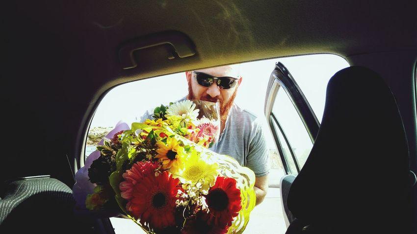 Flower Flowers Car Car Interior Adults Only Adult Road Trip Transportation Men People Journey