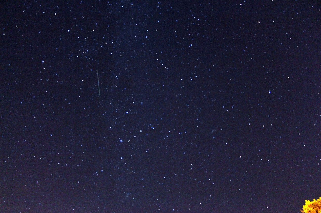 Meteor by Cassiopeia. Perseid meteor shower. Meteor Shower Stars Sky Nature