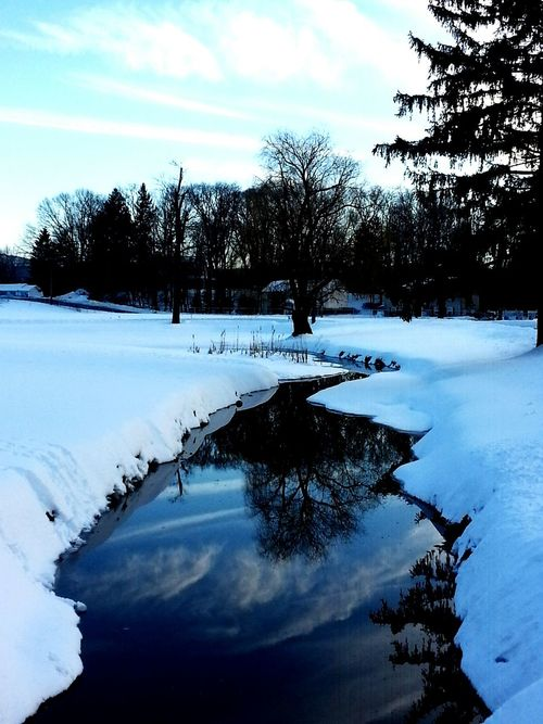 WinterStream Skyreflections Water Reflections Winter Sky Winter Scene