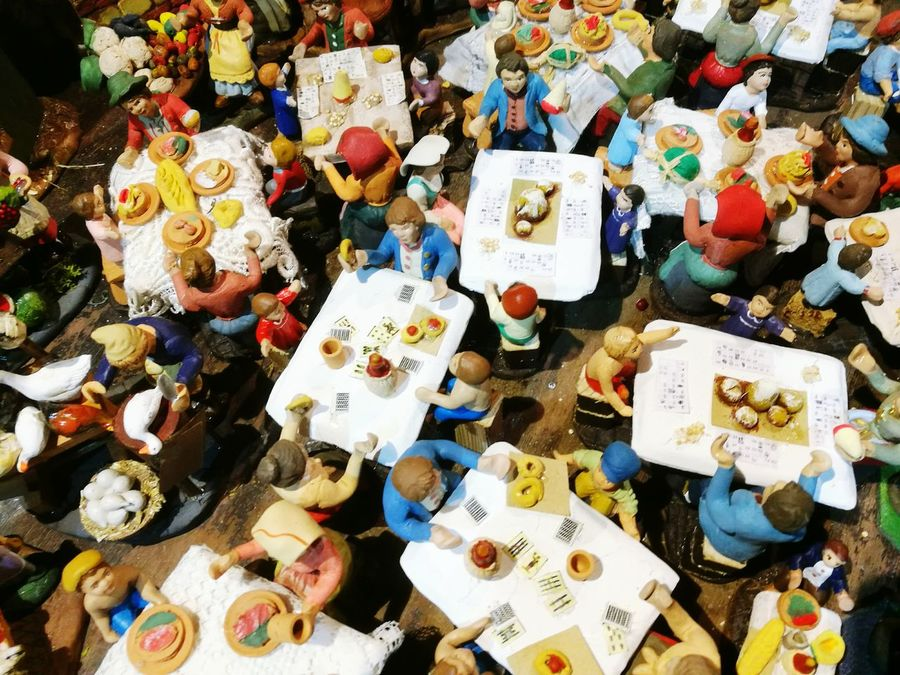 High Angle View Variation For Sale Retail  Choice Large Group Of Objects Market Stall No People Outdoors Presepe Figurine  Naples Italy Restaurant Scene Table And Chairs Figurine  Sangregorioarmeno Street Italian Culture