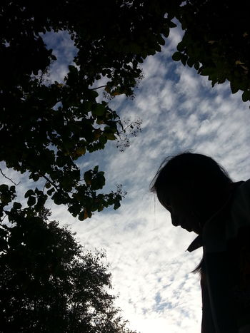 Sky Cloud - Sky Silhouette Low Angle View One Person Tree Outdoors Nature Men People Adult One Man Only Star - Space Adults Only Day Astronomy