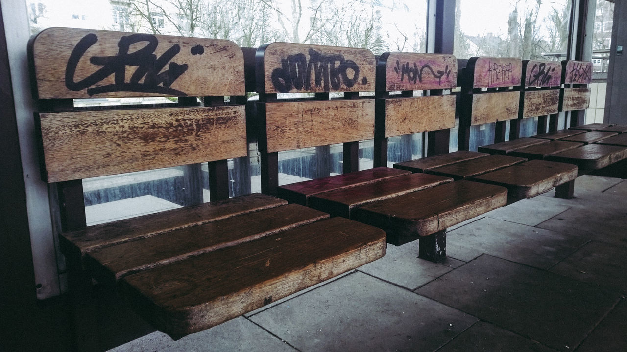 Bench Day Graffiti No People Outdoors Tags Text Train Station Windows Wood - Material