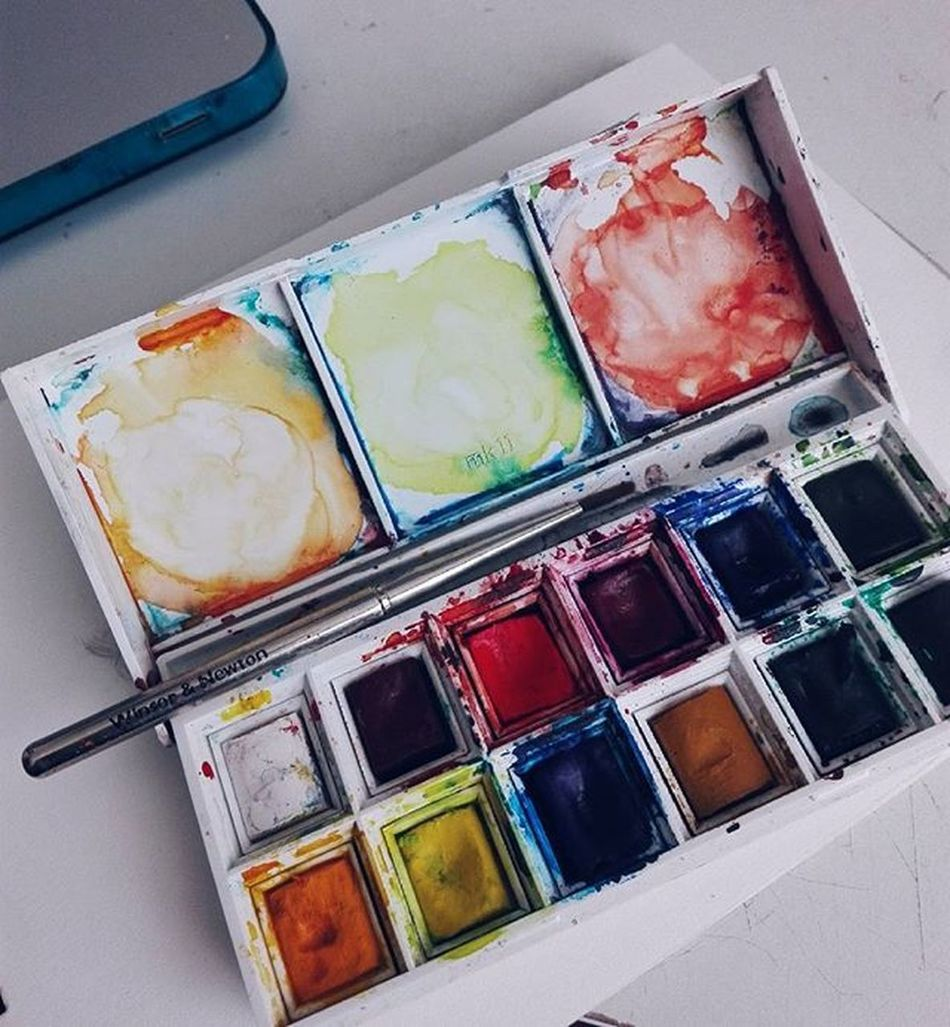 Oldy Winsorandnewton Watercolor Art Paint Rainbow Palettes Splash Bogotá