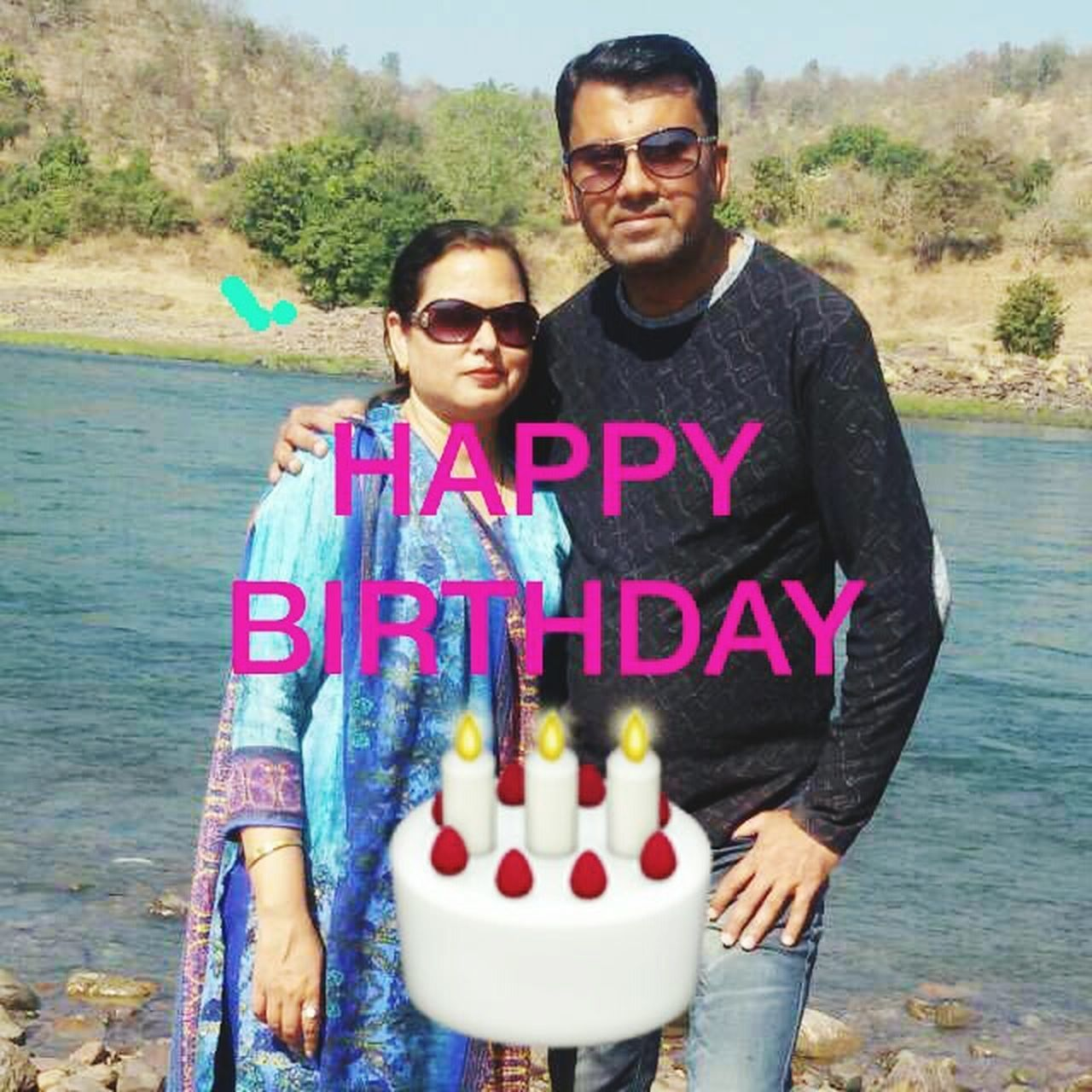 Happy Birthday To Me And Daddy!! Two People Togetherness Looking At Camera Portrait Love Day Adult Front View Outdoors People Smiling Bonding Water Males  Couple - Relationship Happiness Young Adult Standing Real People Child m
