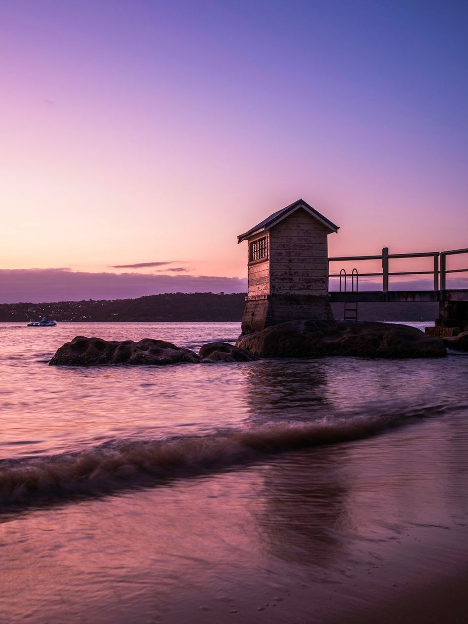 Fisherman's House Water Sunset Architecture Waterfront Beauty In Nature Tranquil Scene Outdoors Scenics No People