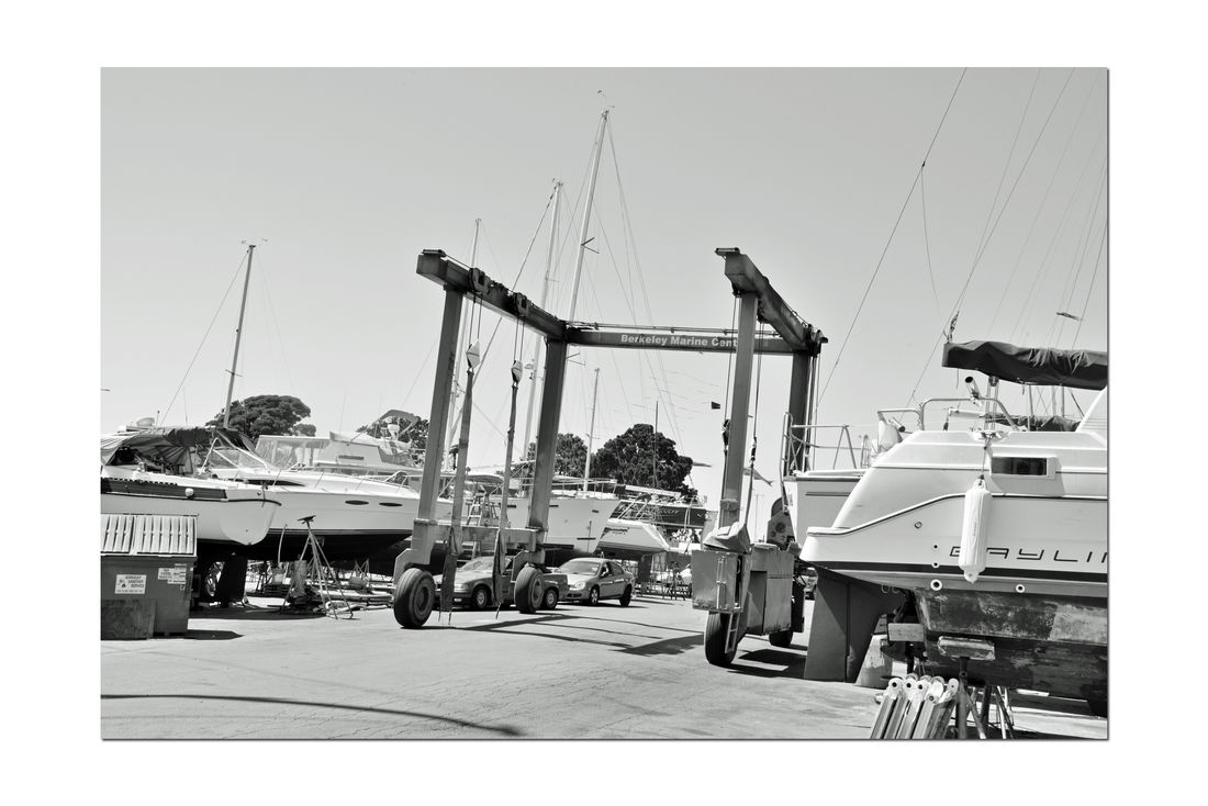 Boatyard @ Berkeley Marine Center 6 Berkeley, Ca. Boat Repair And Restoration Custom Yacht Builder Boatyard Boat Lift Bnw_friday_eyeemchallenge Shiplift Yachts Boats Being Repaired Boats On Stands Sailboats Not Quite Ready For Water Water Craft Masts Hulls Boats In A Line Keels  Monochrome Black & White Black And White Photography Black And White Black And White Collection