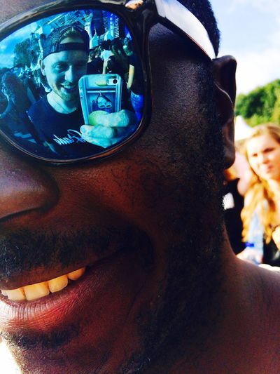 My reflection in sunglasses on latin village festival in The Netherlands Sunglasses Festival Reflection Friendship Friend Close-up Me