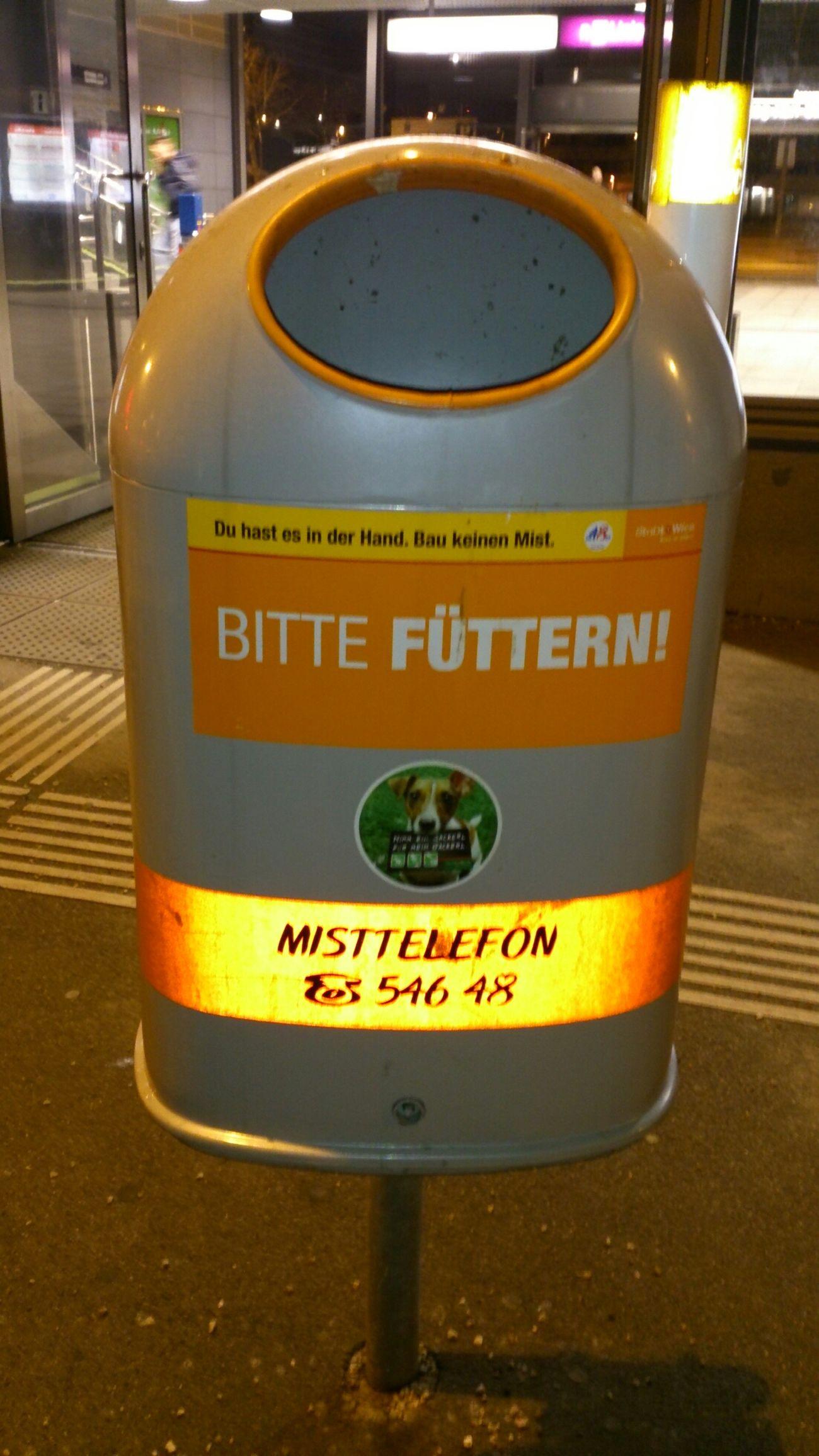 bitte füttern! Mülleimer Der Stadt Wien Mülleimer Sprüche Visual Statements
