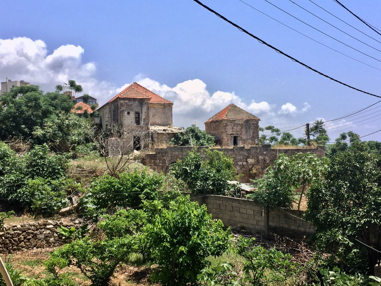 Hidden Places Urban Decay Old Houses Summer Day Outdoors Power Lines Byblos Lebanon