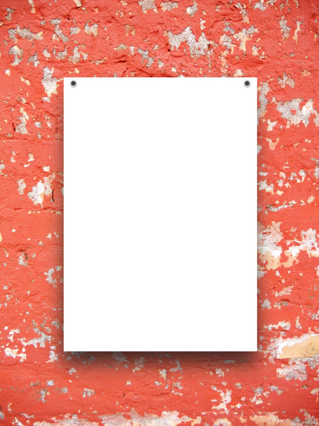 Single empty paper sheet with nails on red scratched concrete wall background A4 Format Dimension Concrete Weathered Wall Empty Grey Nails One Rectangular Frame Red Scratched And Cracked Plaster Scratched And Cracked Wall Single Vertical Frame Single Vertical Paper Sheet White