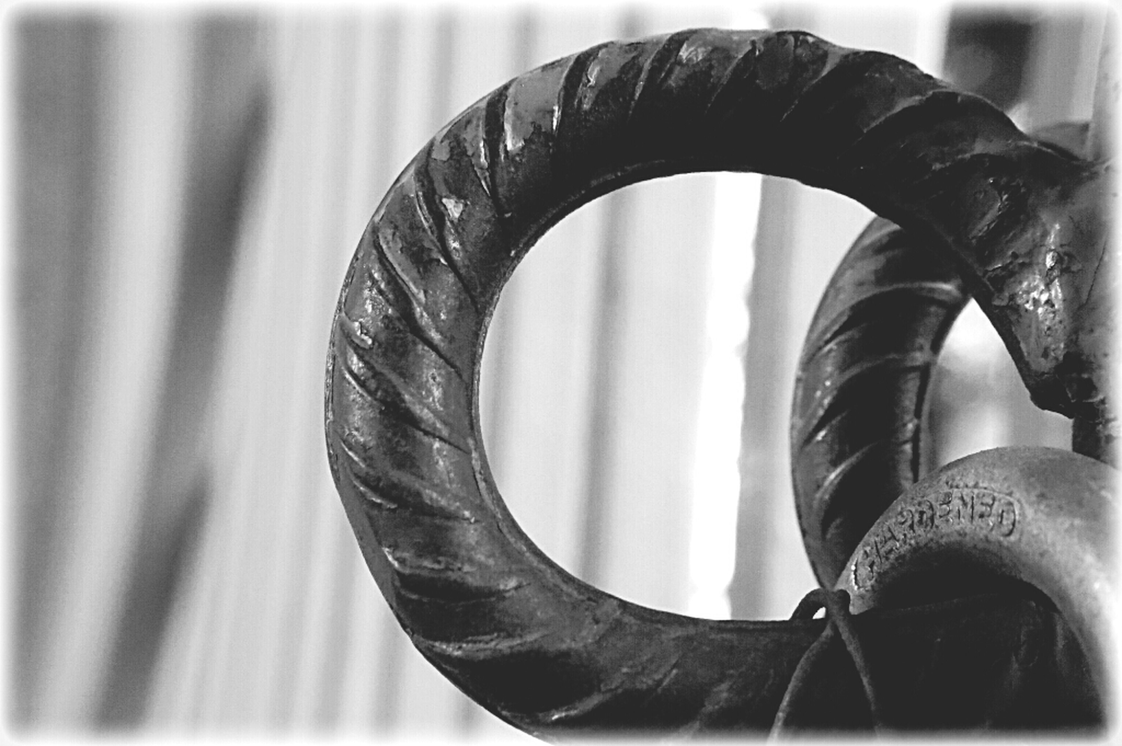 metal, close-up, metallic, focus on foreground, spiral, part of, railing, circle, rusty, strength, indoors, day, pattern, selective focus, detail, no people, connection, curve, spiral staircase