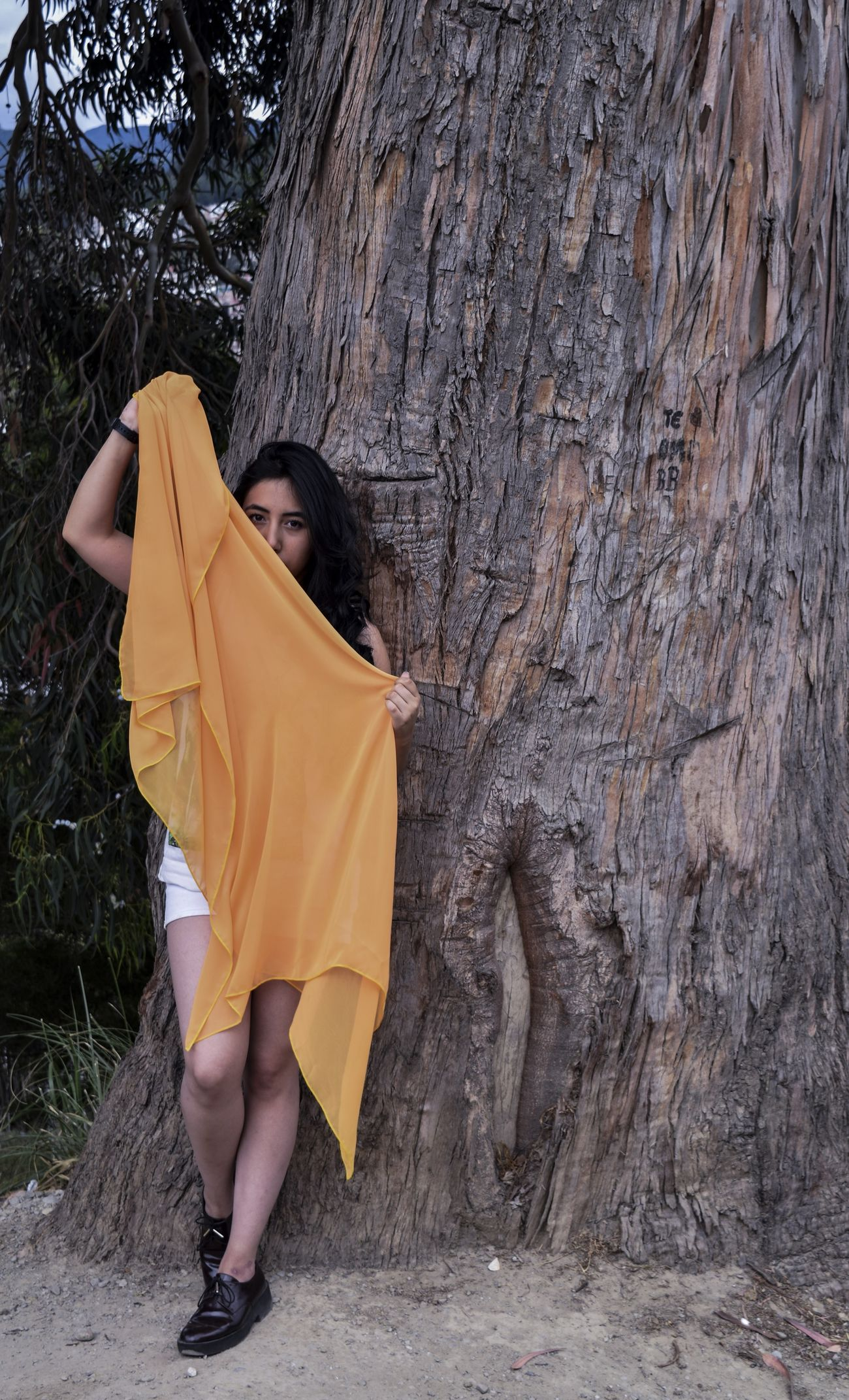 One Person Yellow Real People One Girl Only Adult Tree Day People Photo Of The Day Yellow Color Telas Inspired Tree Enjoying Life Raíces Trip Photo Girl Portrait Model
