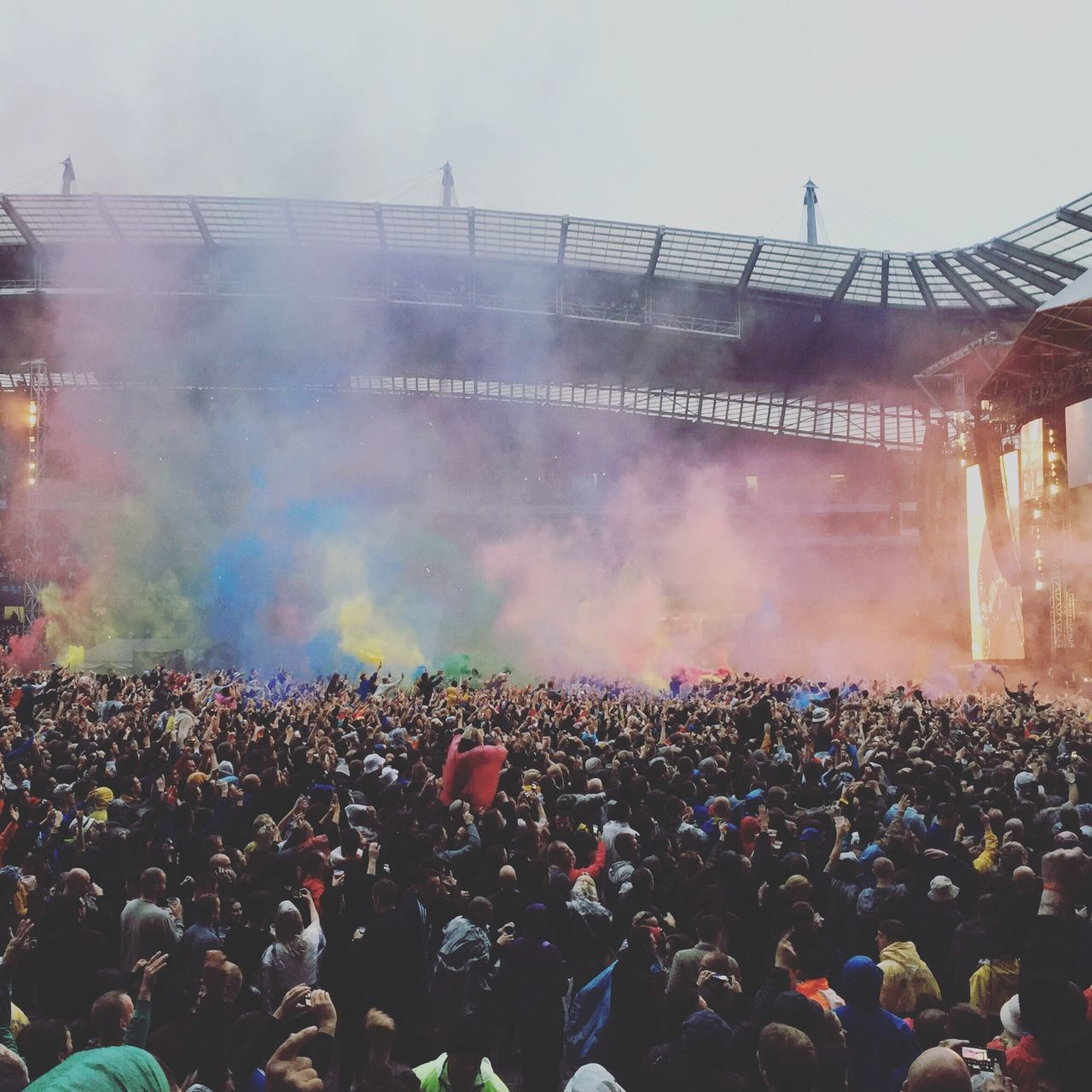 Stoneroses Music Colors Colorful Celebration Crowd Multi Colored Event Outdoors Day People Stadium Concert Manchester Etihad Pyrotechnics
