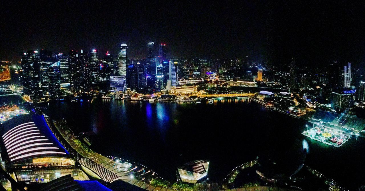 View of Marina Bay from CE La Vi lounge, Marina Bay Sands Hotel. Architecture Illuminated Cityscape Travel Destinations Modern Skyscraper Nightphotography Night Lights Night Night Photography Check This Out Taking Photos OpenEdit EyeEm Gallery From My Point Of View Panorama First Eyeem Photo