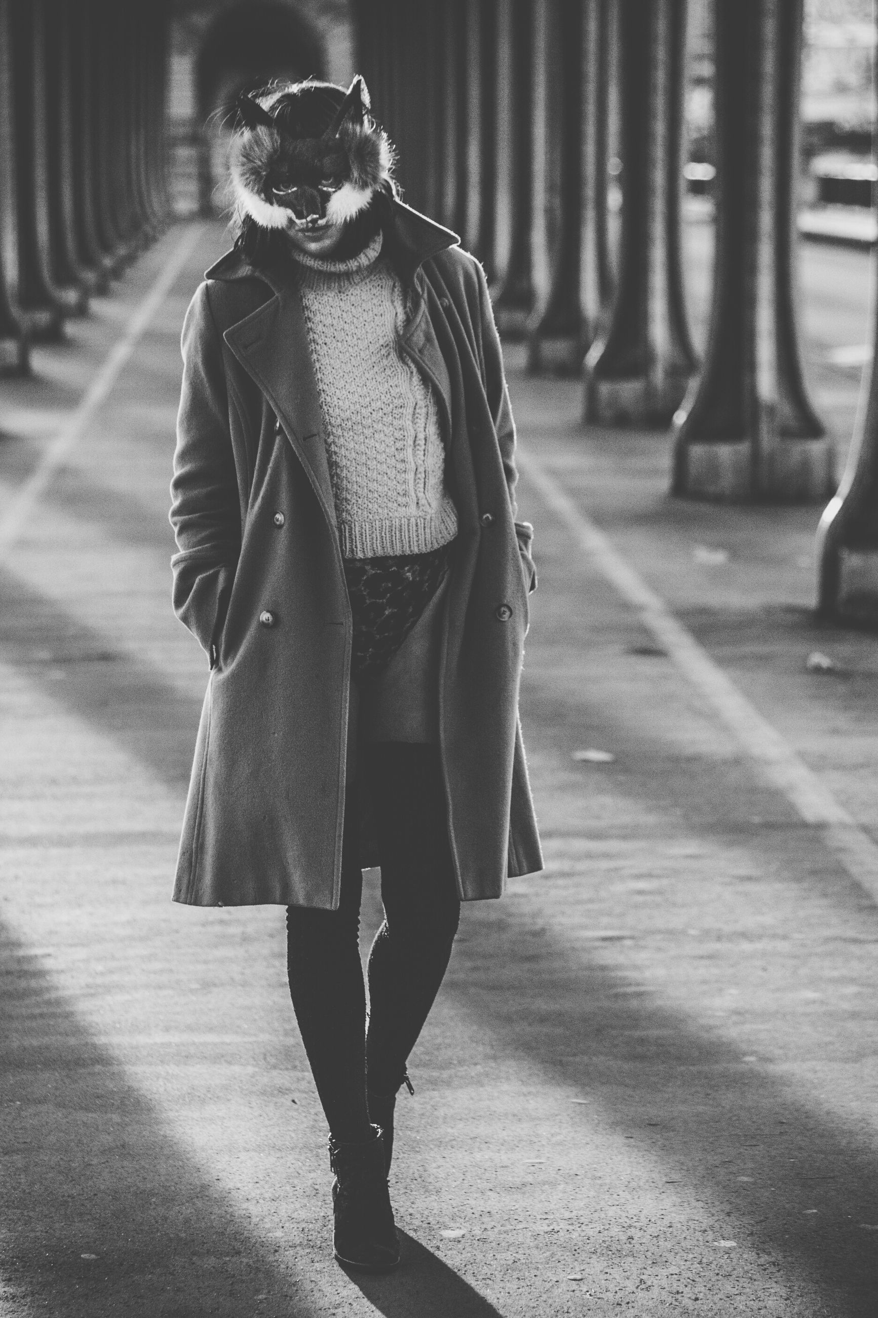 lifestyles, casual clothing, full length, leisure activity, standing, front view, street, focus on foreground, warm clothing, rear view, walking, young adult, jacket, fashion, person, road, sidewalk