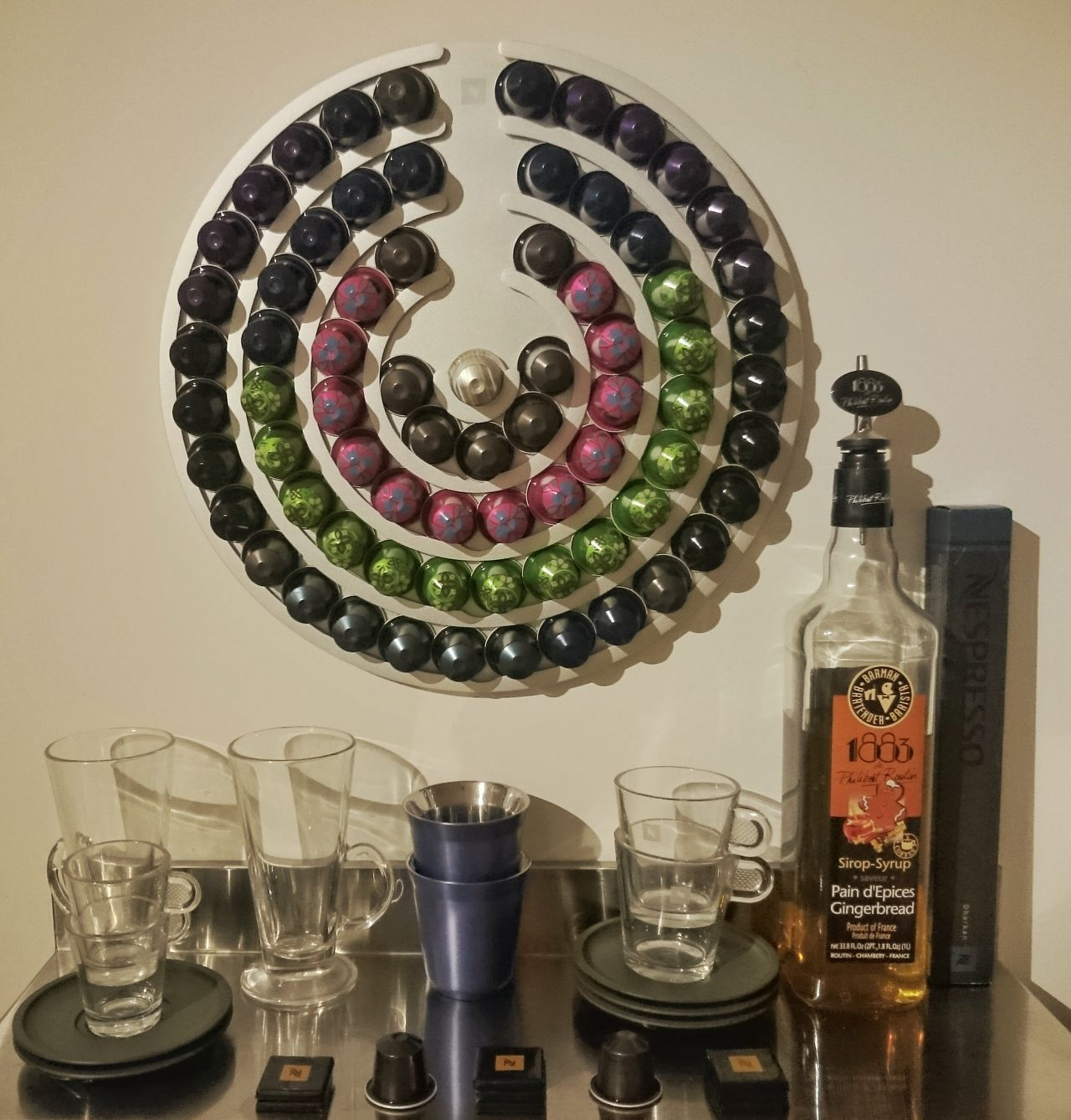 Coffee Setup // Coffee Drink Cups Glasses Syrup Pods Organization Organisation Saucers Setup Set Up Wall Art Home Morning Beverage Relax Wall Creative Tidy Clean Colours Nespresso Nespresso Time Nespressomoments Tasty