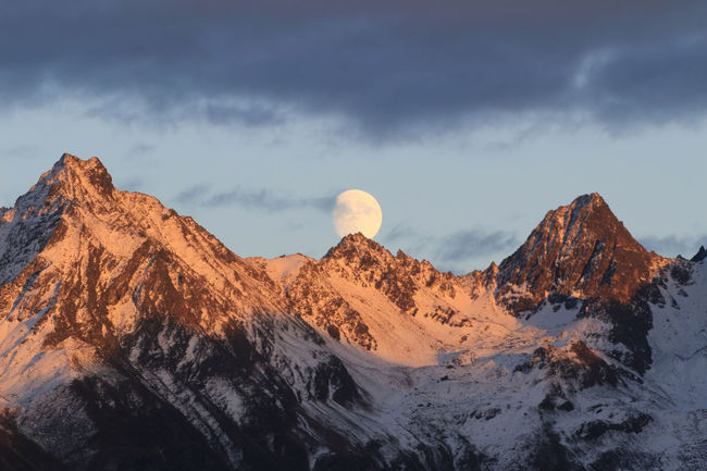 Moon beauty in Nature mountain mountain range sunset
